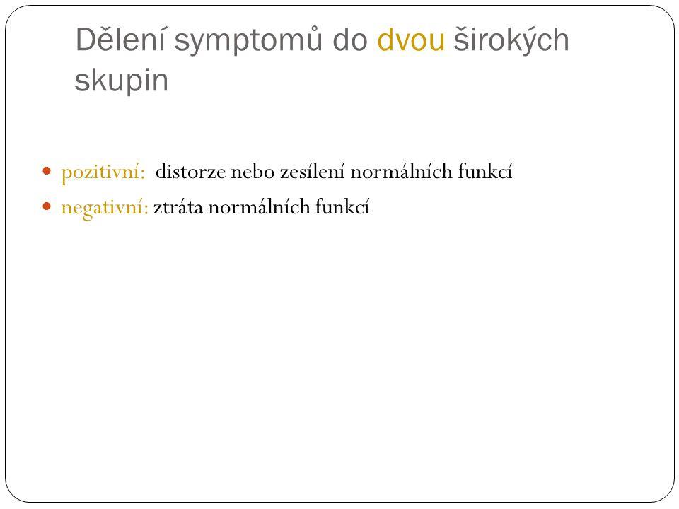 Dělení symptomů do dvou širokých skupin pozitivní: distorze nebo zesílení normálních funkcí negativní: ztráta normálních funkcí