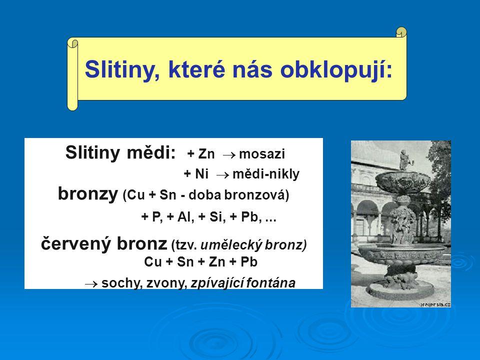 Slitiny mědi: + Zn  mosazi + Ni  mědi-nikly bronzy (Cu + Sn - doba bronzová) + P, + Al, + Si, + Pb,... červený bronz (tzv. umělecký bronz) Cu + Sn +