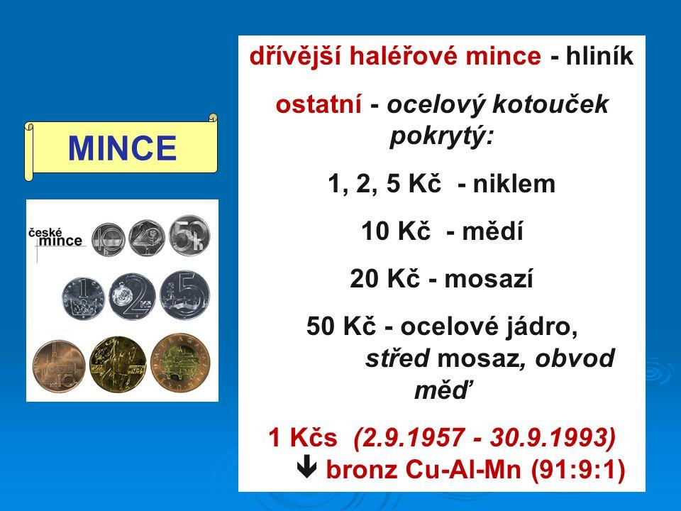 dřívější haléřové mince - hliník ostatní - ocelový kotouček pokrytý: 1, 2, 5 Kč - niklem 10 Kč - mědí 20 Kč - mosazí 50 Kč - ocelové jádro, střed mosa