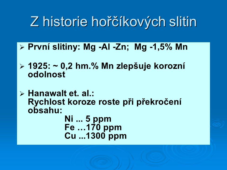 Z historie hořčíkových slitin   První slitiny: Mg -Al -Zn; Mg -1,5% Mn   1925: ~ 0,2 hm.% Mn zlepšuje korozní odolnost   Hanawalt et. al.: Rychl
