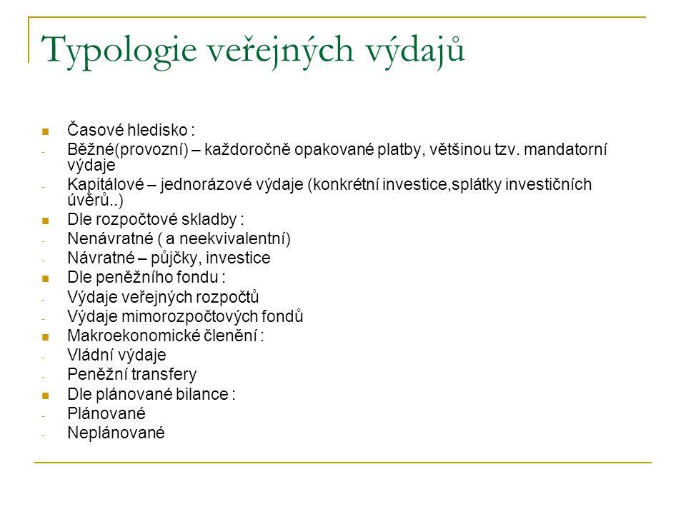 Typologie veřejných výdajů Časové hledisko : - Běžné(provozní) – každoročně opakované platby, většinou tzv. mandatorní výdaje - Kapitálové – jednorázo