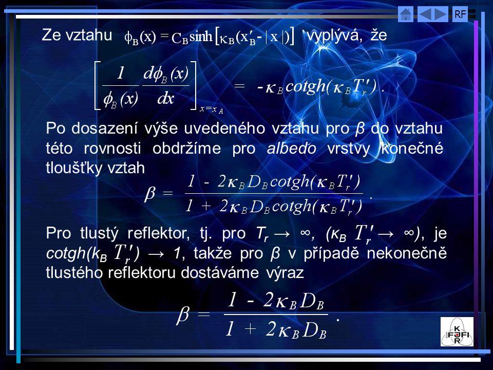 RF Ze vztahu vyplývá, že Po dosazení výše uvedeného vztahu pro β do vztahu této rovnosti obdržíme pro albedo vrstvy konečné tloušťky vztah Pro tlustý reflektor, tj.