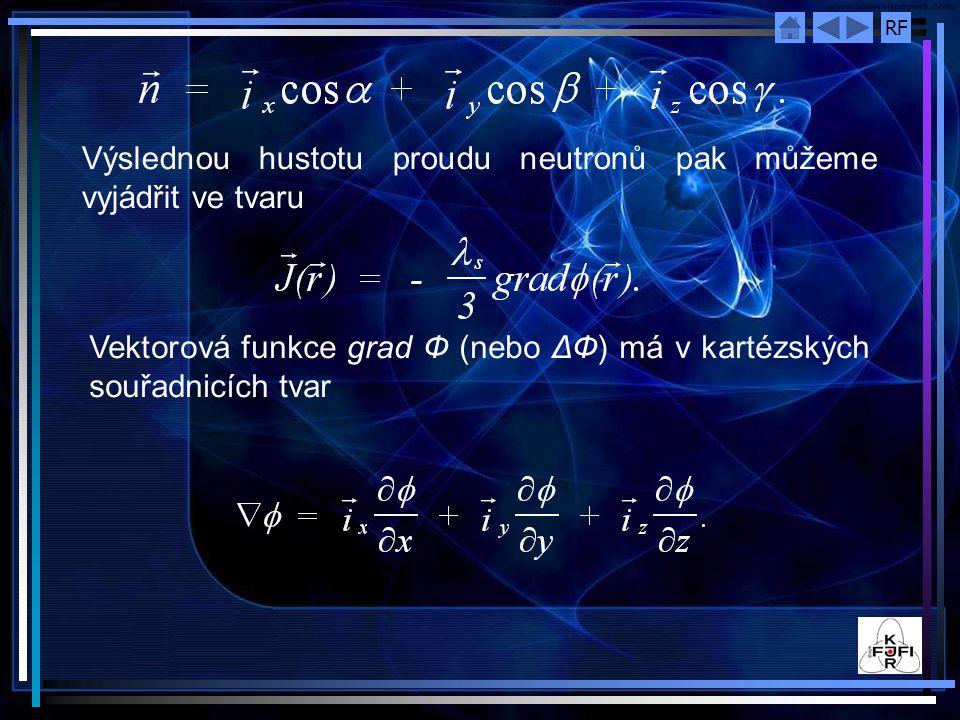 RF Výslednou hustotu proudu neutronů pak můžeme vyjádřit ve tvaru Vektorová funkce grad Ф (nebo ΔФ) má v kartézských souřadnicích tvar