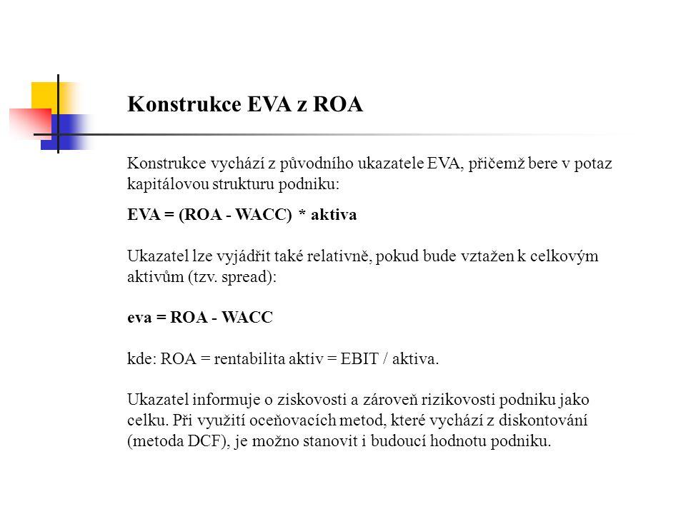 Konstrukce EVA z ROA Konstrukce vychází z původního ukazatele EVA, přičemž bere v potaz kapitálovou strukturu podniku: EVA = (ROA - WACC) * aktiva Uka