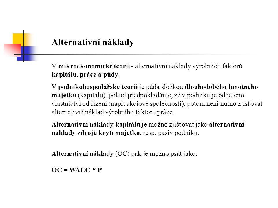 Alternativní náklady V mikroekonomické teorii - alternativní náklady výrobních faktorů kapitálu, práce a půdy. V podnikohospodářské teorii je půda slo