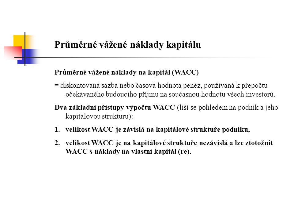 První přístup konstruuje WACC z matematického hlediska takto: D E WACC = rd * (1 - d) * + re * V V kde rd…běžná výpůjční sazba podniku d…sazba daně z příjmu D…úročené cizí zdroje V…celkový kapitál (pasiva) re…výnosová míra vlastního kapitálu (závisí na jeho riziku) E…vlastní kapitál.