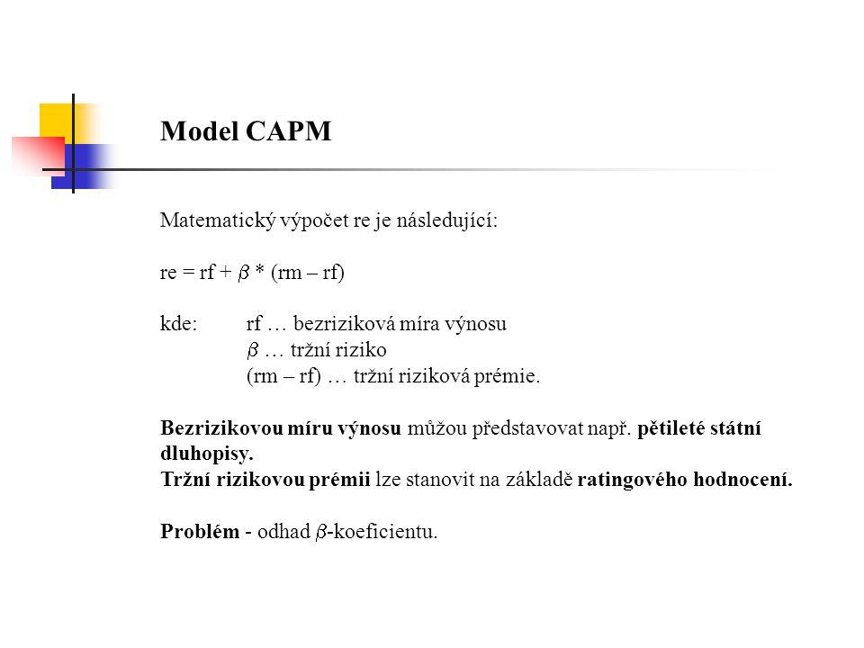 Model CAPM Matematický výpočet re je následující: re = rf +  * (rm – rf) kde:rf … bezriziková míra výnosu  … tržní riziko (rm – rf) … tržní riziková