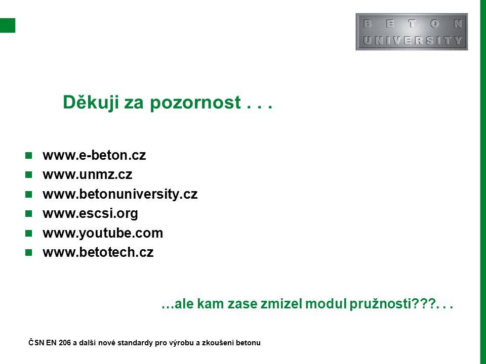 Děkuji za pozornost... ČSN EN 206 a další nové standardy pro výrobu a zkoušení betonu www.e-beton.cz www.unmz.cz www.betonuniversity.cz www.escsi.org