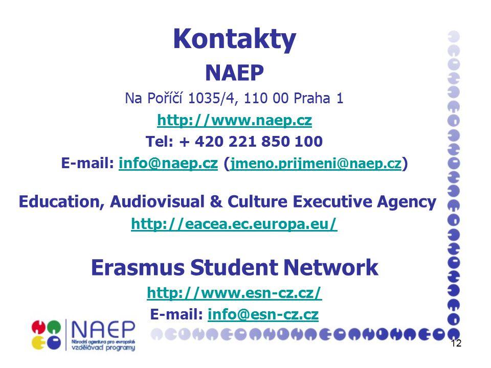 12 Kontakty NAEP Na Poříčí 1035/4, 110 00 Praha 1 http://www.naep.cz Tel: + 420 221 850 100 E-mail: info@naep.cz ( jmeno.prijmeni@naep.cz )info@naep.cz jmeno.prijmeni@naep.cz Education, Audiovisual & Culture Executive Agency http://eacea.ec.europa.eu/ Erasmus Student Network http://www.esn-cz.cz/ E-mail: info@esn-cz.czinfo@esn-cz.cz