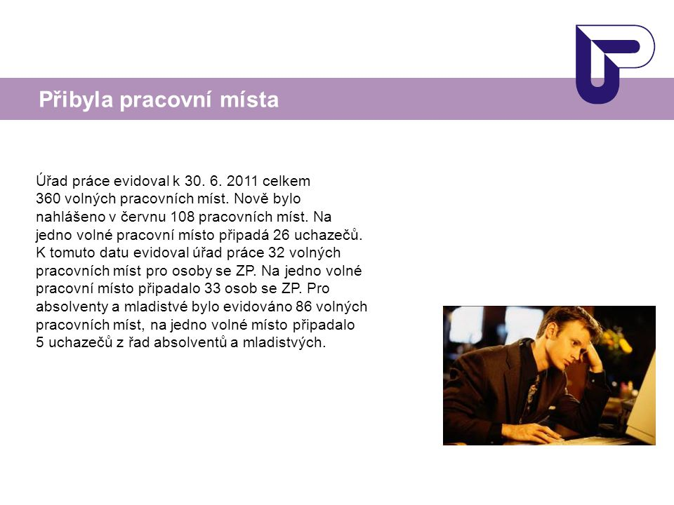 Úřad práce evidoval k 30. 6. 2011 celkem 360 volných pracovních míst. Nově bylo nahlášeno v červnu 108 pracovních míst. Na jedno volné pracovní místo