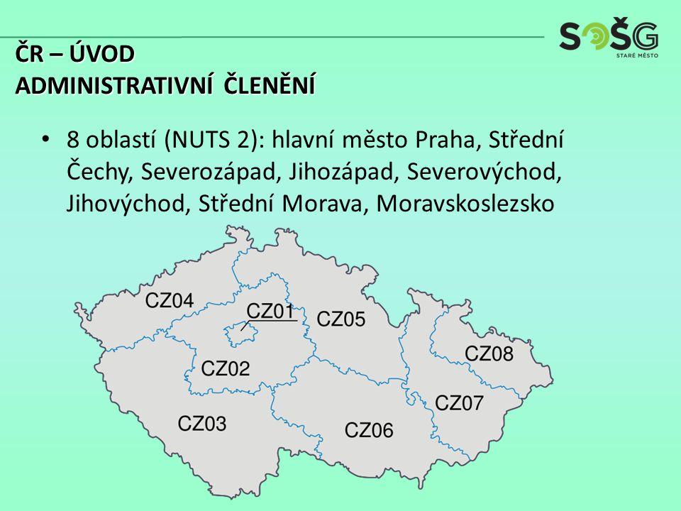 8 oblastí (NUTS 2): hlavní město Praha, Střední Čechy, Severozápad, Jihozápad, Severovýchod, Jihovýchod, Střední Morava, Moravskoslezsko ČR – ÚVOD ADM
