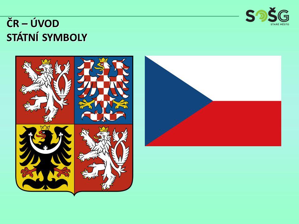ČR je vnitrozemský středoevropský stát Leží zhruba uprostřed severního mírného pásu na evropském rozvodí na hranici dvou geologicko-geomorfologických celků Sousední státy: Polsko (762km), Německo (810km), Rakousko (466km) a Slovensko (272km) ČR – ÚVOD POLOHA