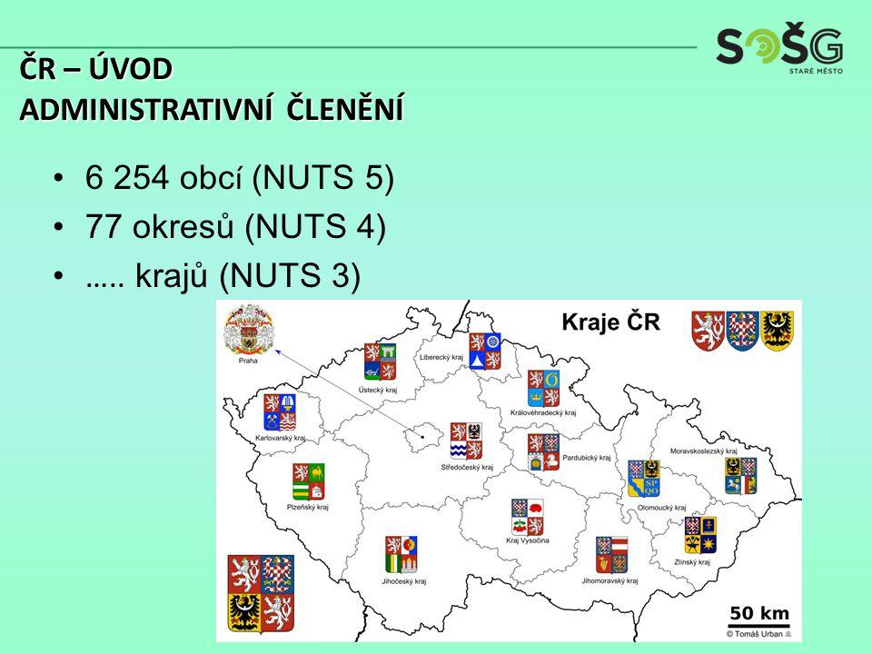 6 254 obc í (NUTS 5) 77 okresů (NUTS 4) ….. krajů (NUTS 3) ČR – ÚVOD ADMINISTRATIVNÍ ČLENĚNÍ
