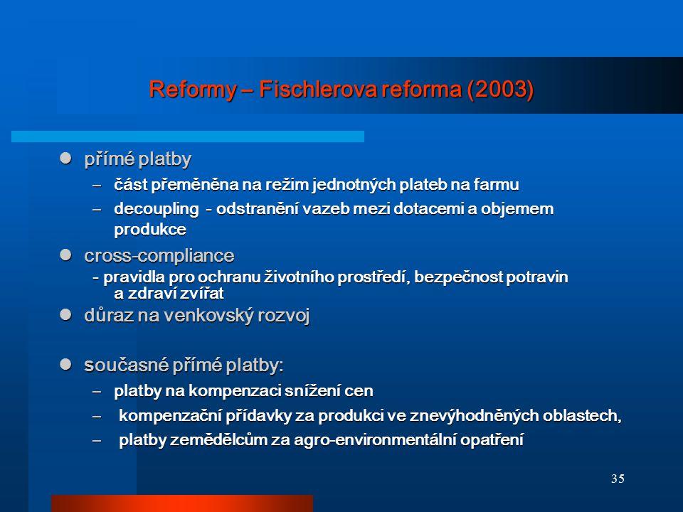 35 Reformy – Fischlerova reforma (2003) přímé platby přímé platby –část přeměněna na režim jednotných plateb na farmu –decoupling - odstranění vazeb m