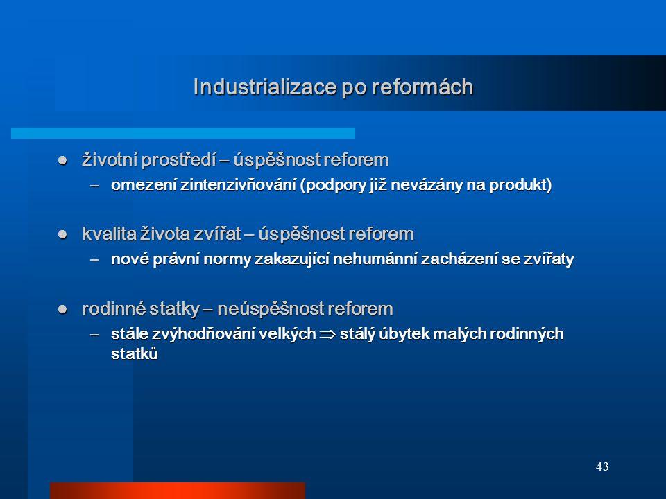 43 Industrializace po reformách životní prostředí – úspěšnost reforem životní prostředí – úspěšnost reforem –omezení zintenzivňování (podpory již nevá