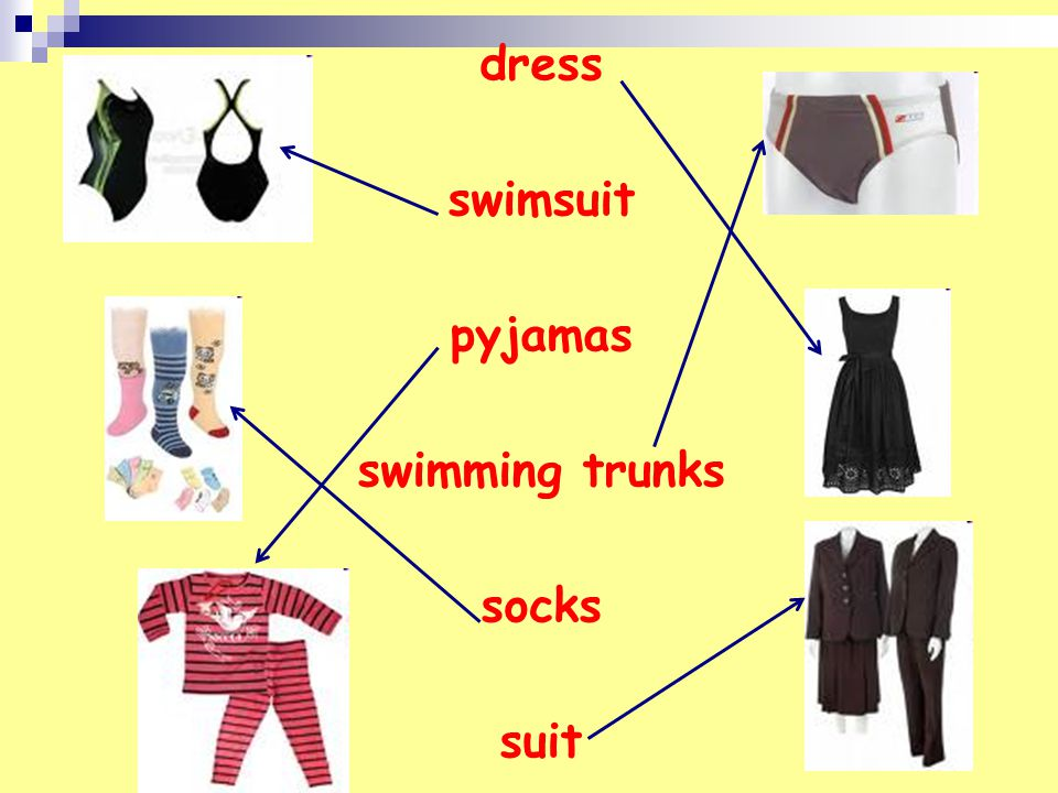 dress swimsuit pyjamas swimming trunks socks suit