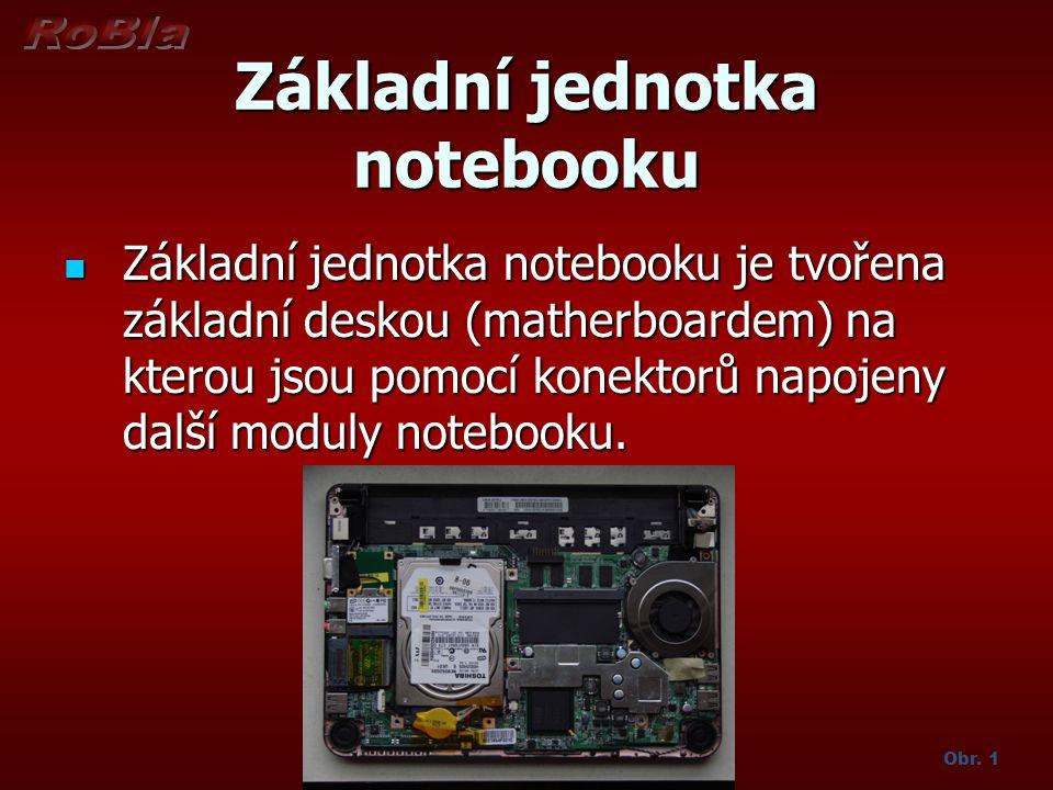 Základní jednotka notebooku Základní jednotka notebooku je tvořena základní deskou (matherboardem) na kterou jsou pomocí konektorů napojeny další modu