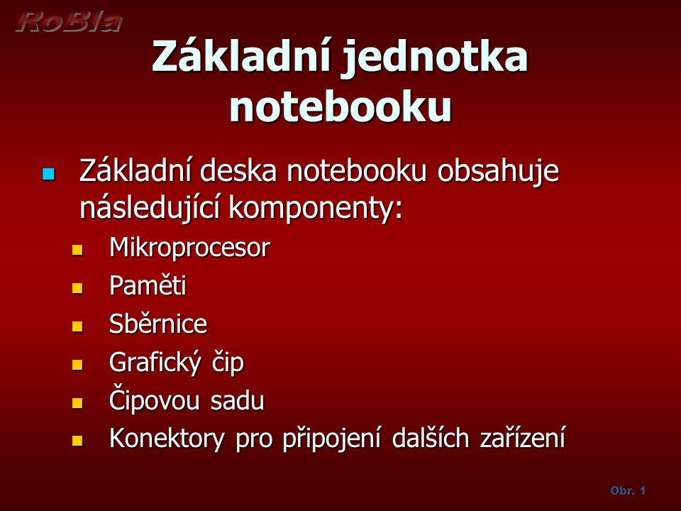 Základní jednotka notebooku Základní deska notebooku obsahuje následující komponenty: Základní deska notebooku obsahuje následující komponenty: Mikrop