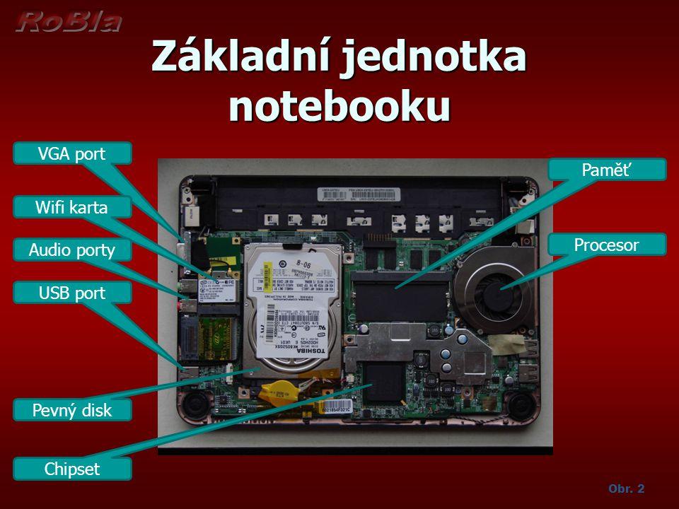 Základní jednotka notebooku Obr. 2 VGA port Wifi karta Audio porty USB port Pevný disk Chipset Paměť Procesor