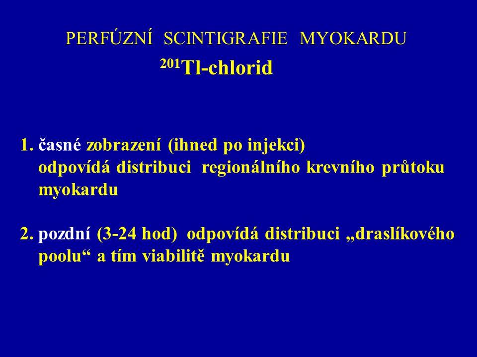 PERFÚZNÍ SCINTIGRAFIE MYOKARDU 201 Tl-chlorid 1. časné zobrazení (ihned po injekci) odpovídá distribuci regionálního krevního průtoku myokardu 2. pozd