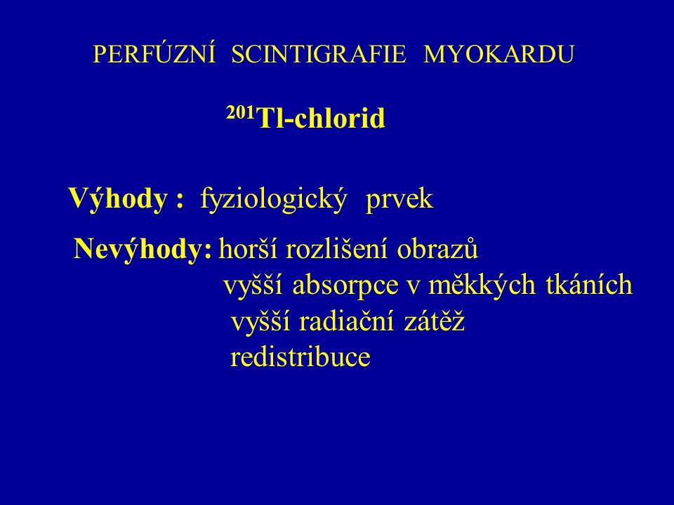 PERFÚZNÍ SCINTIGRAFIE MYOKARDU 201 Tl-chlorid Výhody : fyziologický prvek Nevýhody: horší rozlišení obrazů vyšší absorpce v měkkých tkáních vyšší radi