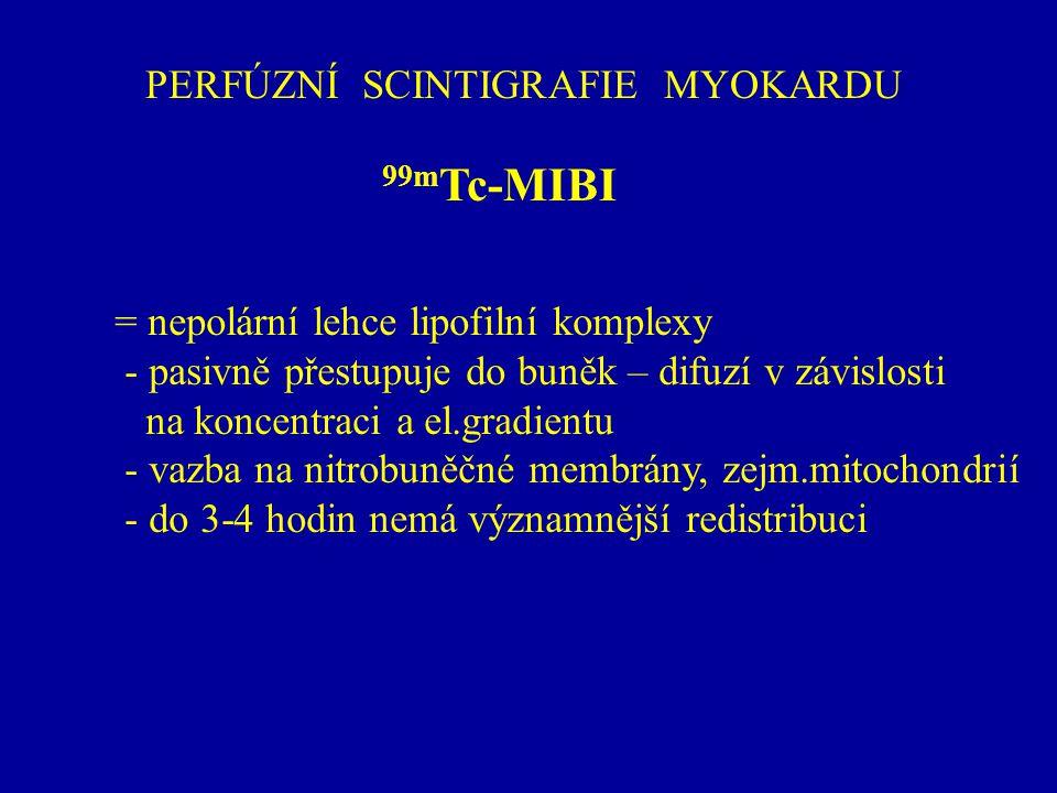PERFÚZNÍ SCINTIGRAFIE MYOKARDU 99m Tc-MIBI = nepolární lehce lipofilní komplexy - pasivně přestupuje do buněk – difuzí v závislosti na koncentraci a e