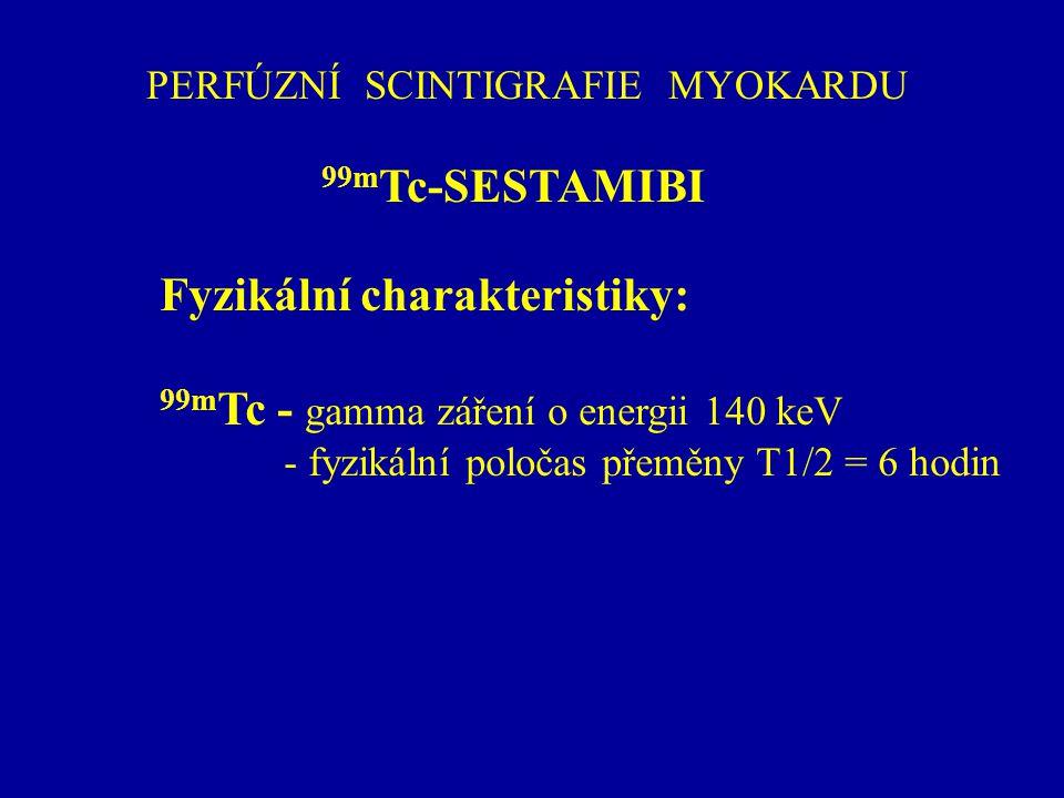 PERFÚZNÍ SCINTIGRAFIE MYOKARDU 99m Tc-SESTAMIBI Fyzikální charakteristiky: 99m Tc - gamma záření o energii 140 keV - fyzikální poločas přeměny T1/2 =