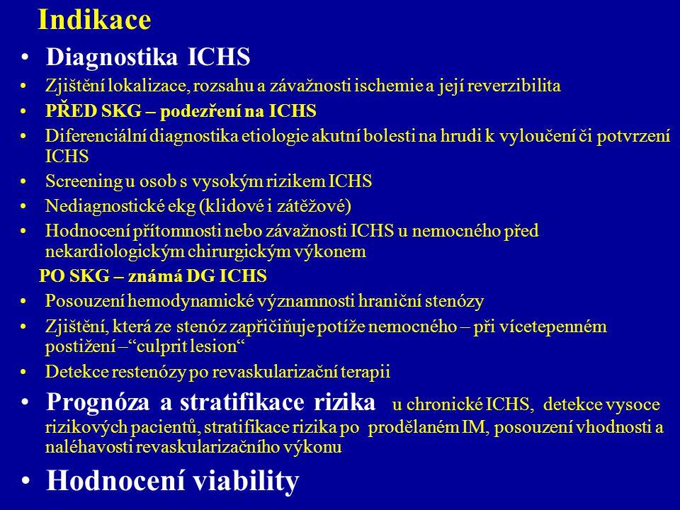 Indikace Diagnostika ICHS Zjištění lokalizace, rozsahu a závažnosti ischemie a její reverzibilita PŘED SKG – podezření na ICHS Diferenciální diagnosti