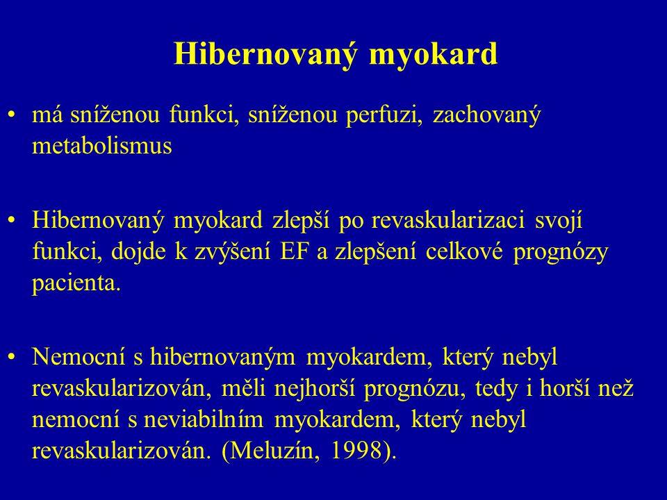 Hibernovaný myokard má sníženou funkci, sníženou perfuzi, zachovaný metabolismus Hibernovaný myokard zlepší po revaskularizaci svojí funkci, dojde k z
