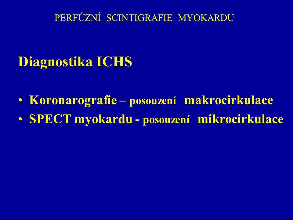 PERFÚZNÍ SPECT MYOKARDU Diagnostika ICHS Optimální indikace u pacientů se střední předtestovou pravděpodobností ICHS Průměrná Fikrle Sensitivita 92% Specificita 68% Kupka K.a kol: Nukleární medicína, 2007