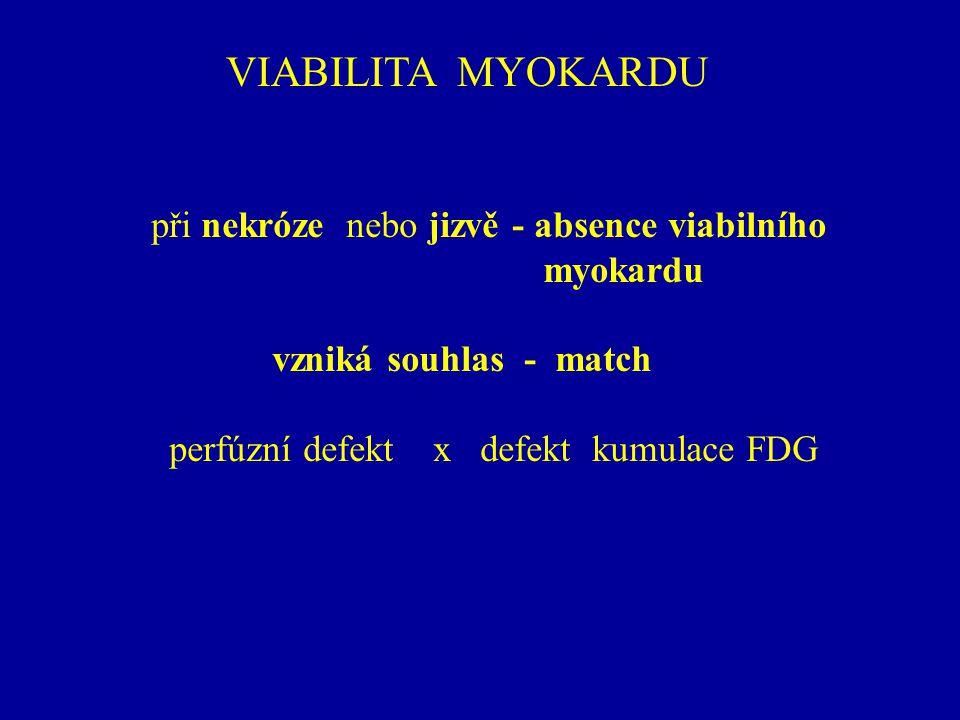 VIABILITA MYOKARDU při nekróze nebo jizvě - absence viabilního myokardu vzniká souhlas - match perfúzní defekt x defekt kumulace FDG
