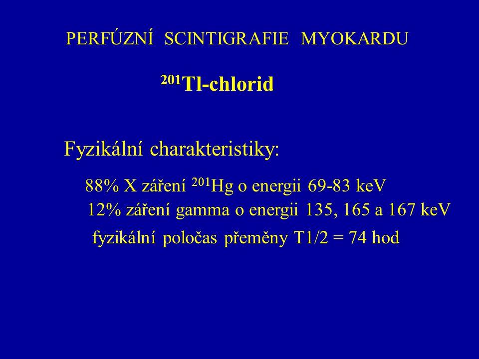 PERFÚZNÍ SCINTIGRAFIE MYOKARDU 201 Tl-chlorid Fyzikální charakteristiky: 88% X záření 201 Hg o energii 69-83 keV 12% záření gamma o energii 135, 165 a