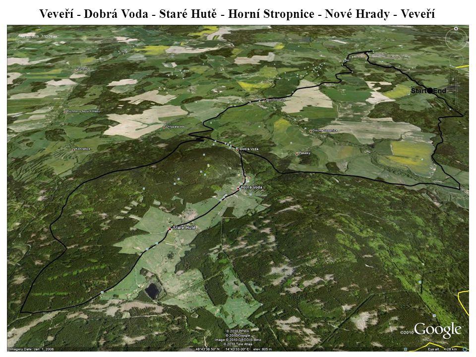 Veveří - Dobrá Voda - Staré Hutě - Horní Stropnice - Nové Hrady - Veveří