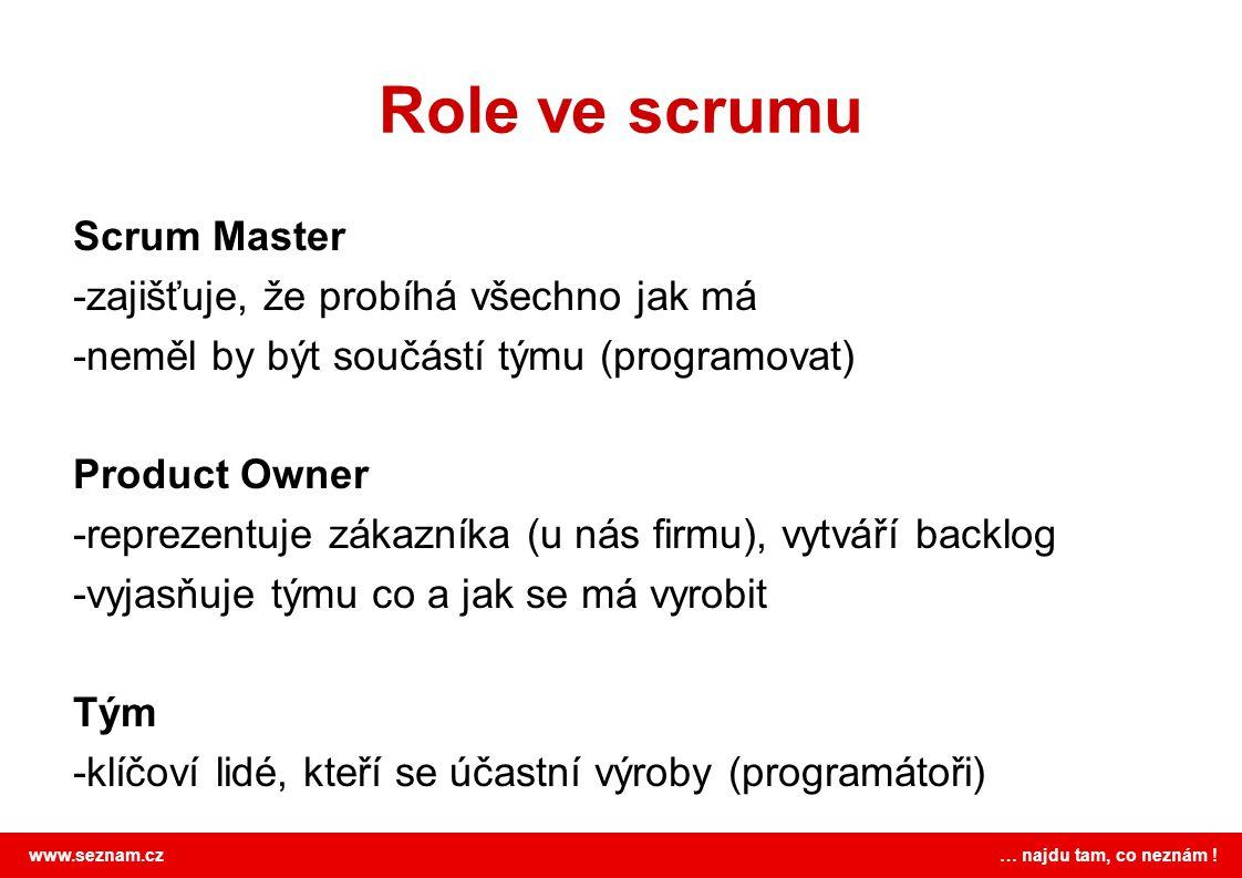 www.seznam.cz … najdu tam, co neznám ! Role ve scrumu Scrum Master -zajišťuje, že probíhá všechno jak má -neměl by být součástí týmu (programovat) Pro