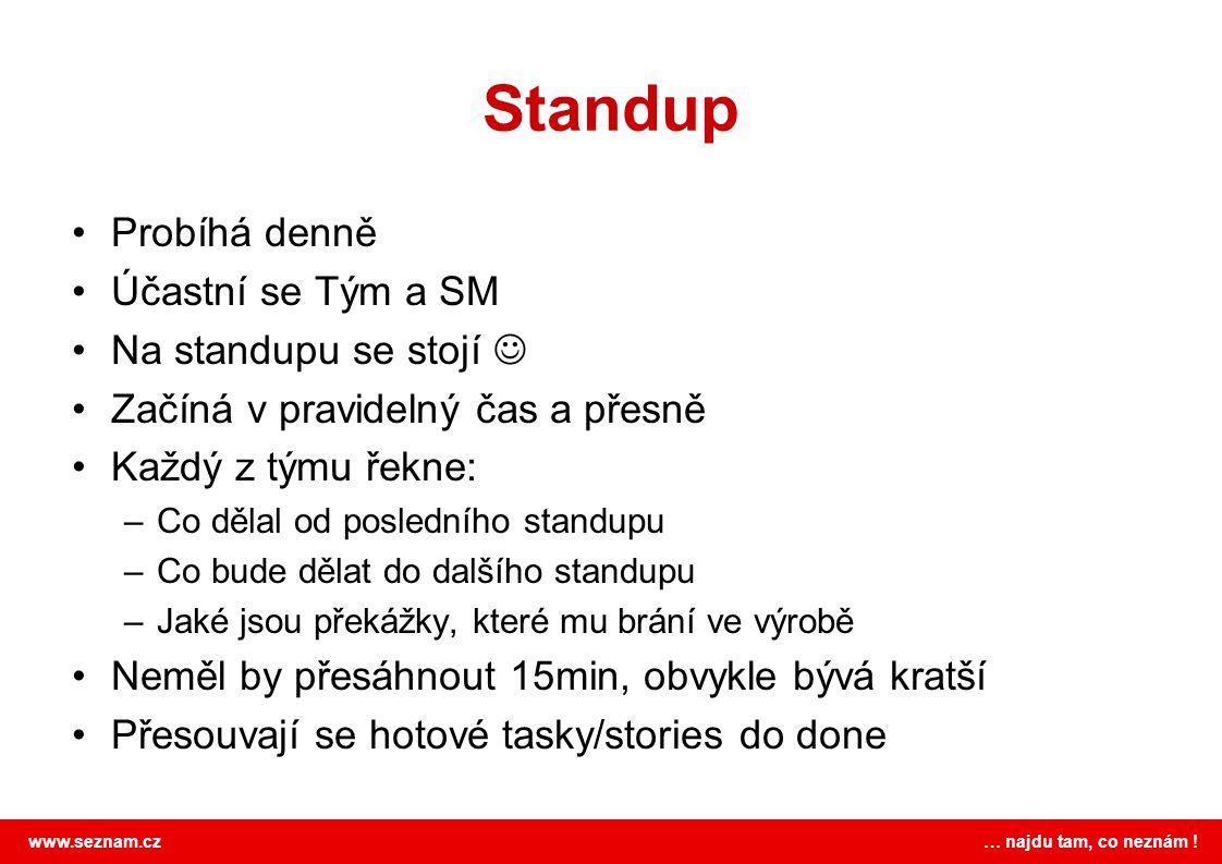 www.seznam.cz … najdu tam, co neznám ! Standup Probíhá denně Účastní se Tým a SM Na standupu se stojí Začíná v pravidelný čas a přesně Každý z týmu ře