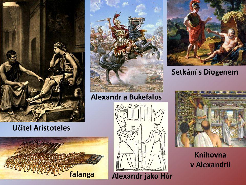Alexandr a Bukefalos Učitel Aristoteles Setkání s Diogenem Knihovna v Alexandrii falanga Alexandr jako Hór