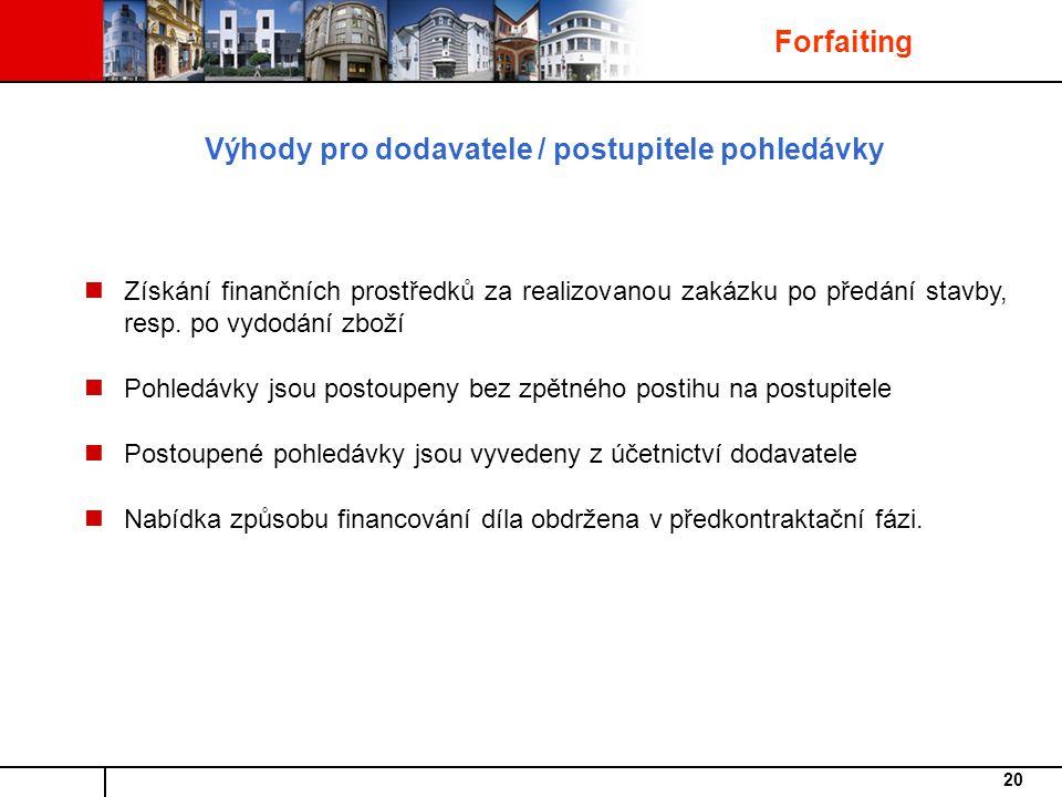 20 Získání finančních prostředků za realizovanou zakázku po předání stavby, resp.