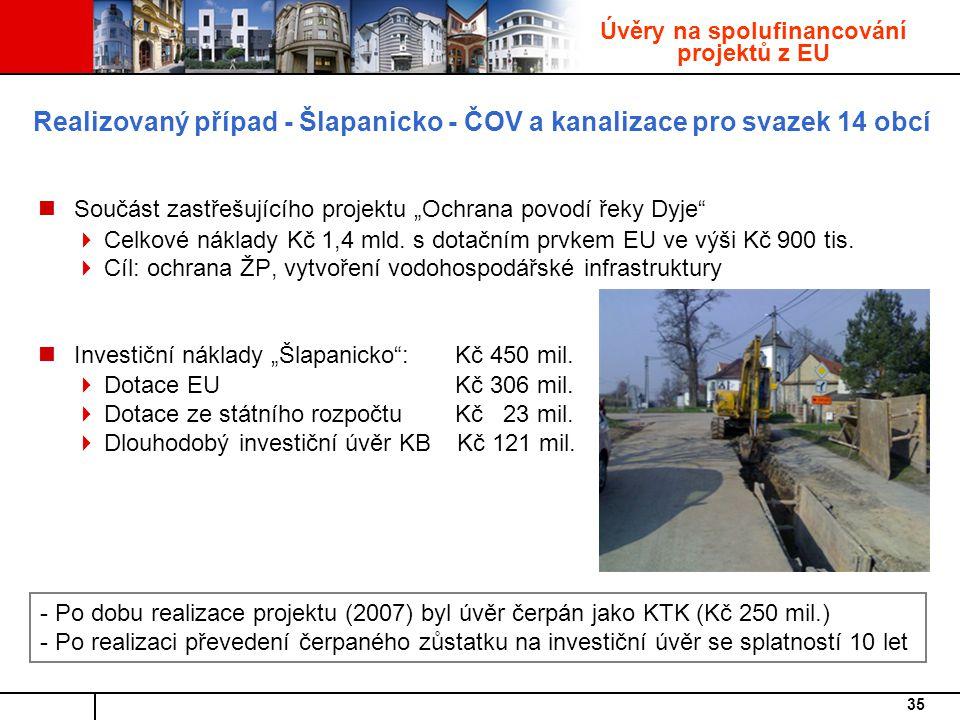 """35 Realizovaný případ - Šlapanicko - ČOV a kanalizace pro svazek 14 obcí Součást zastřešujícího projektu """"Ochrana povodí řeky Dyje  Celkové náklady Kč 1,4 mld."""
