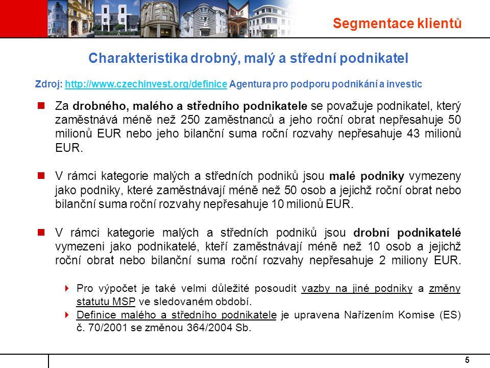 5 Charakteristika drobný, malý a střední podnikatel Zdroj: http://www.czechinvest.org/definice Agentura pro podporu podnikání a investichttp://www.czechinvest.org/definice Za drobného, malého a středního podnikatele se považuje podnikatel, který zaměstnává méně než 250 zaměstnanců a jeho roční obrat nepřesahuje 50 milionů EUR nebo jeho bilanční suma roční rozvahy nepřesahuje 43 milionů EUR.
