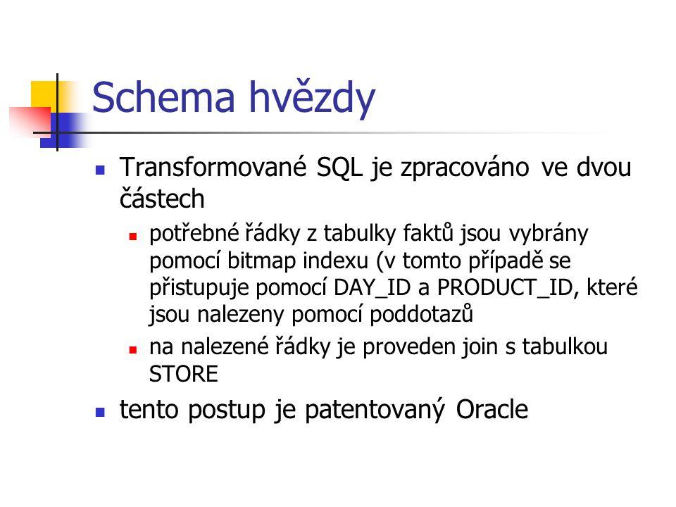 Schema hvězdy Transformované SQL je zpracováno ve dvou částech potřebné řádky z tabulky faktů jsou vybrány pomocí bitmap indexu (v tomto případě se př