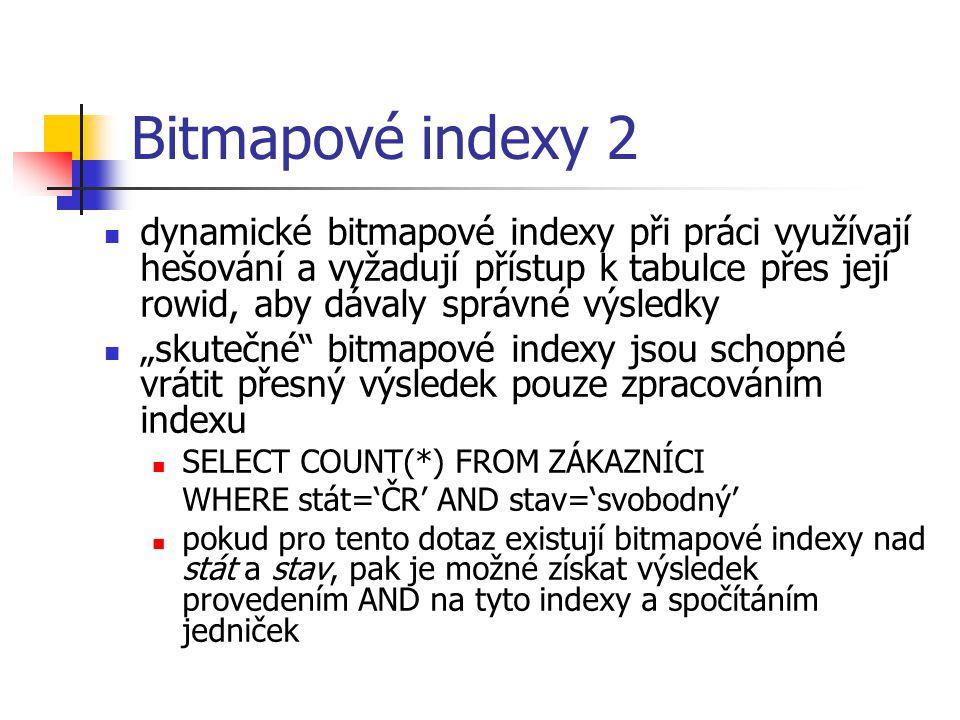 """Bitmapové indexy 2 dynamické bitmapové indexy při práci využívají hešování a vyžadují přístup k tabulce přes její rowid, aby dávaly správné výsledky """""""
