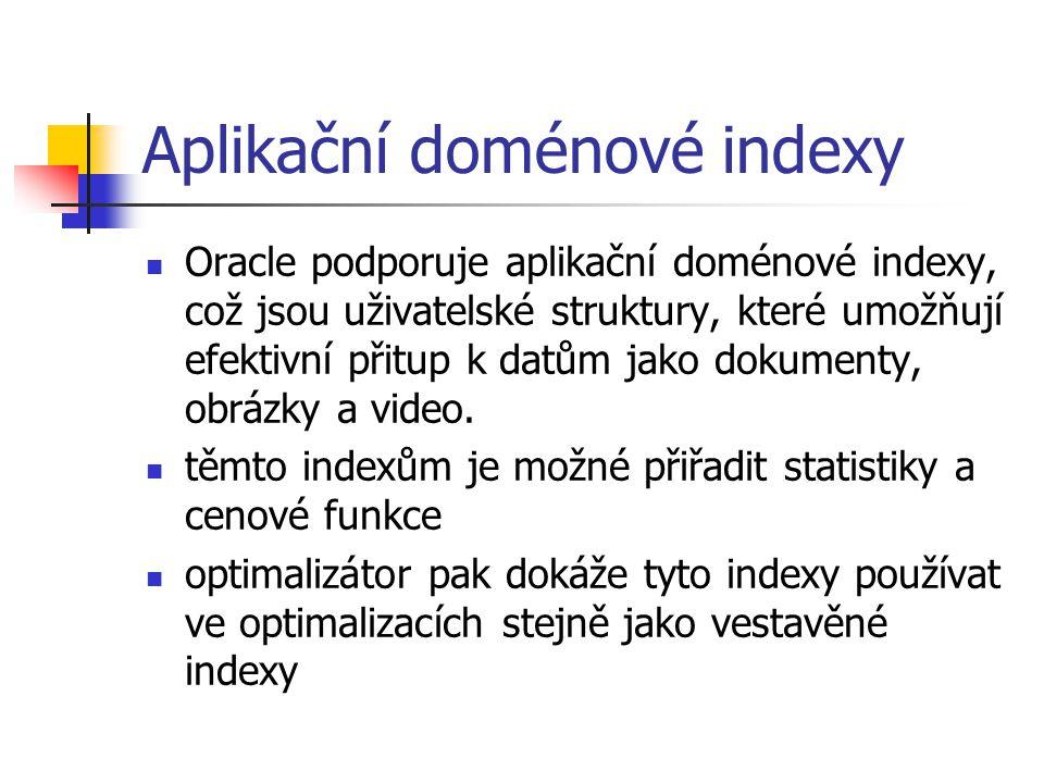 Aplikační doménové indexy Oracle podporuje aplikační doménové indexy, což jsou uživatelské struktury, které umožňují efektivní přitup k datům jako dok