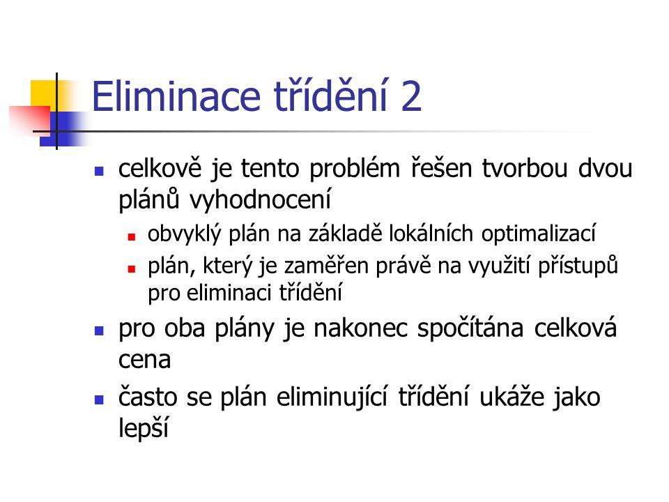Eliminace třídění 2 celkově je tento problém řešen tvorbou dvou plánů vyhodnocení obvyklý plán na základě lokálních optimalizací plán, který je zaměře