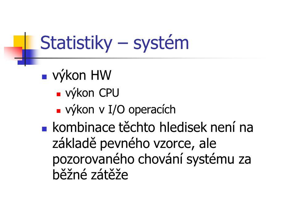 Statistiky – systém výkon HW výkon CPU výkon v I/O operacích kombinace těchto hledisek není na základě pevného vzorce, ale pozorovaného chování systém