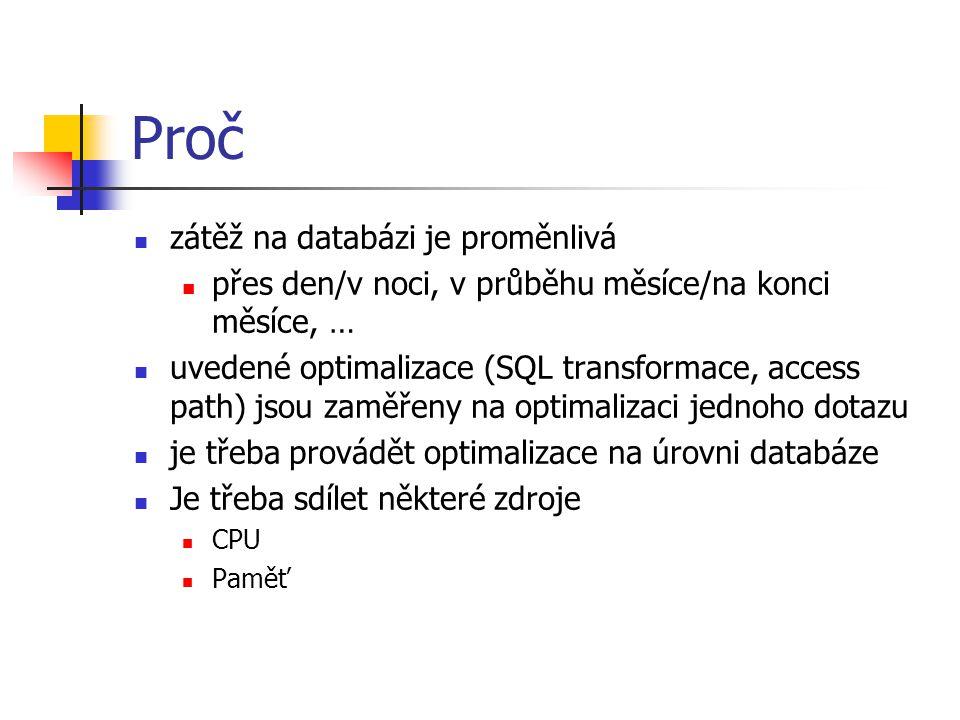 Proč zátěž na databázi je proměnlivá přes den/v noci, v průběhu měsíce/na konci měsíce, … uvedené optimalizace (SQL transformace, access path) jsou za
