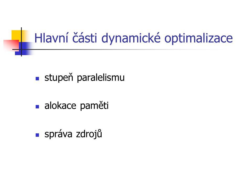 Hlavní části dynamické optimalizace stupeň paralelismu alokace paměti správa zdrojů