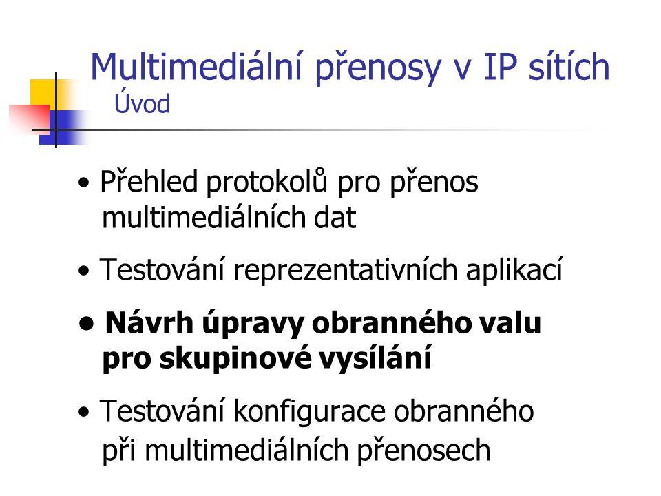 Přehled protokolů pro přenos multimediálních dat Testování reprezentativních aplikací Návrh úpravy obranného valu pro skupinové vysílání Testování kon