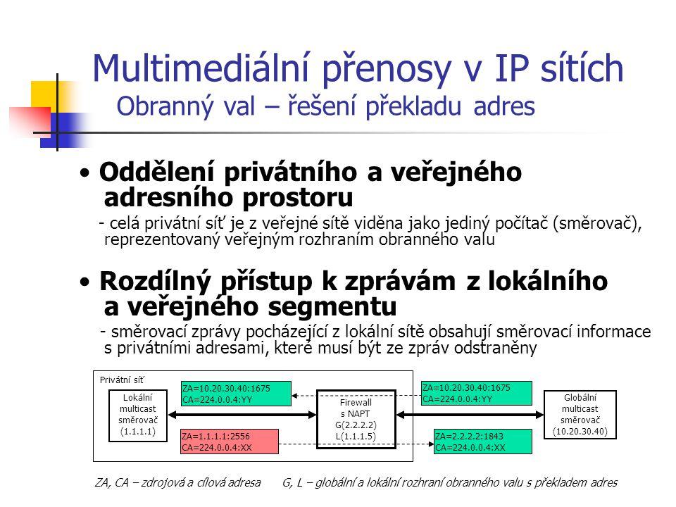 """Otevření adres a portů směrovacích a informačních zpráv skupinového vysílání - pro každé vysílání je potřeba povolit jak propouštění směrovacích informací na specifických skupinových adresách, tak samotné vysílání skupiny Prodloužení doby života směrovacích zpráv - směrovací informace jsou vysílány s """"dobou života – TTL rovnou 1 (dorazí k nejbližšímu sousedovi směrovače)."""