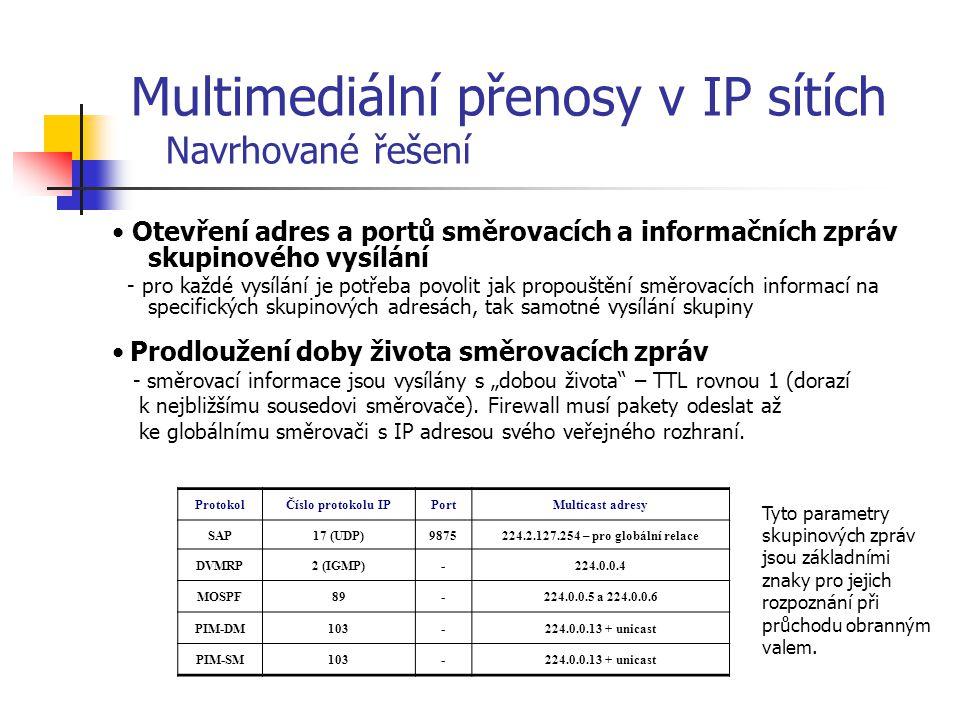 """Protokoly využívající záplavového směrování a protokoly s explicitním přihlašováním - protokoly využívající záplavové směrování (DVMRP, PIM-DM) vyžadují otevření všech skupinových adres pro příjem skupinového vysílání z veřejné sítě, což může být z hlediska bezpečnosti považováno za nevyžádanou komunikaci, kterou lze zastavit až po jejím odmítnutí """"ořezávací zprávou lokálního multicast směrovače - u protokolů s explicitním přihlašováním do skupin lze určit vyžádanou komunikaci ze směrovacích zpráv, proto jsou tyto protokoly (PIM-SM, MOSPF) vhodnější pro použití s obranným valem, neboť umožňují dynamické otevření požadovaných adres Bezpečnost a skupinové směrování - pro zvýšení bezpečnosti obranného valu je nutné vždy povolit pouze komunikaci týkající se příslušného protokolu využívaného směrovačem v lokální síti Multimediální přenosy v IP sítích Navrhované řešení"""