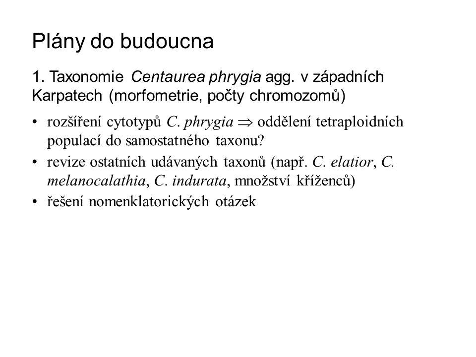Plány do budoucna 1. Taxonomie Centaurea phrygia agg. v západních Karpatech (morfometrie, počty chromozomů) rozšíření cytotypů C. phrygia  oddělení t